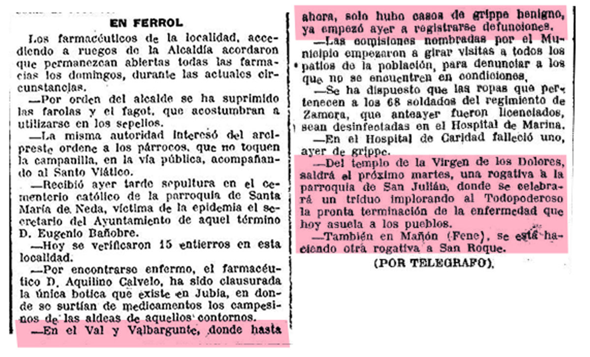 """Recorte de """"El Ideal Gallego"""" do domingo, 13 de outubro de 1918."""