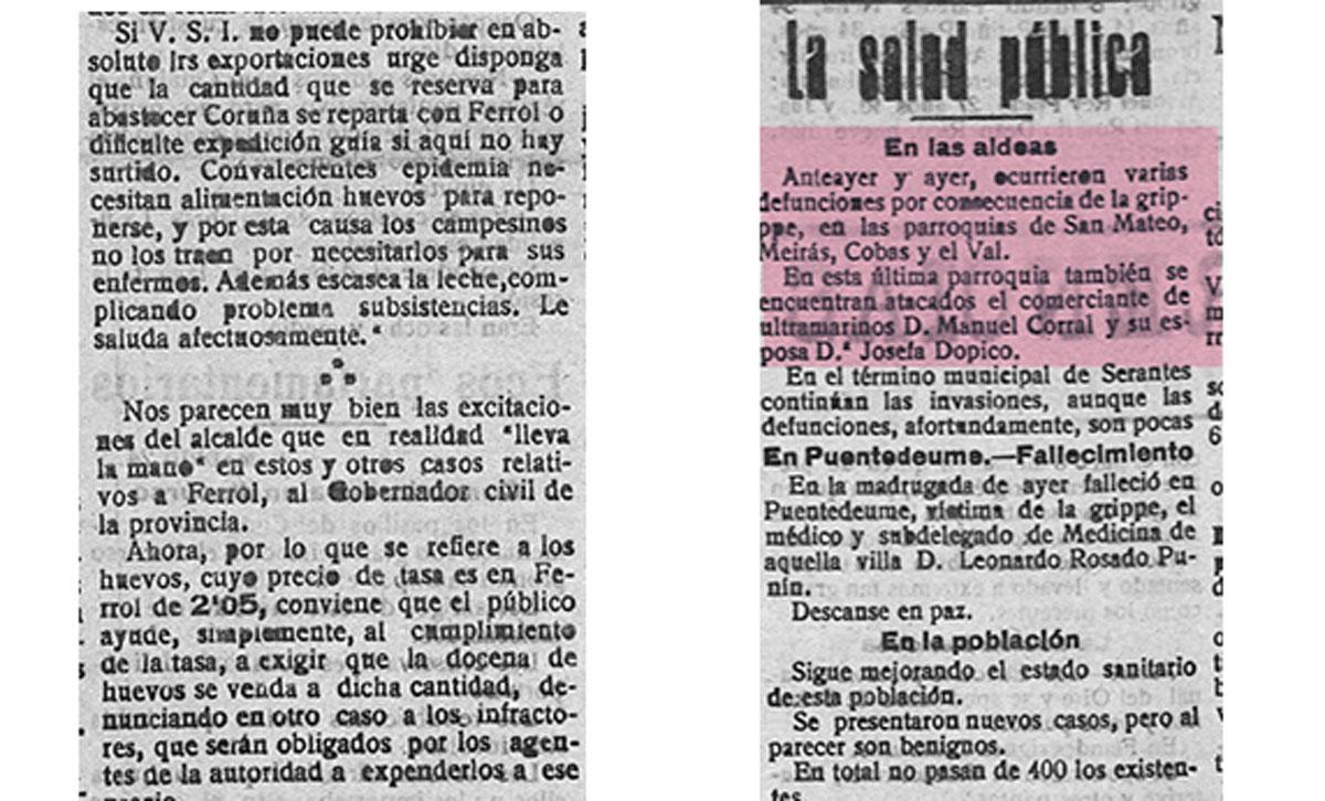 "Recorte de ""El Correo Gallego"" do venres, 25 de outubro de 1918."
