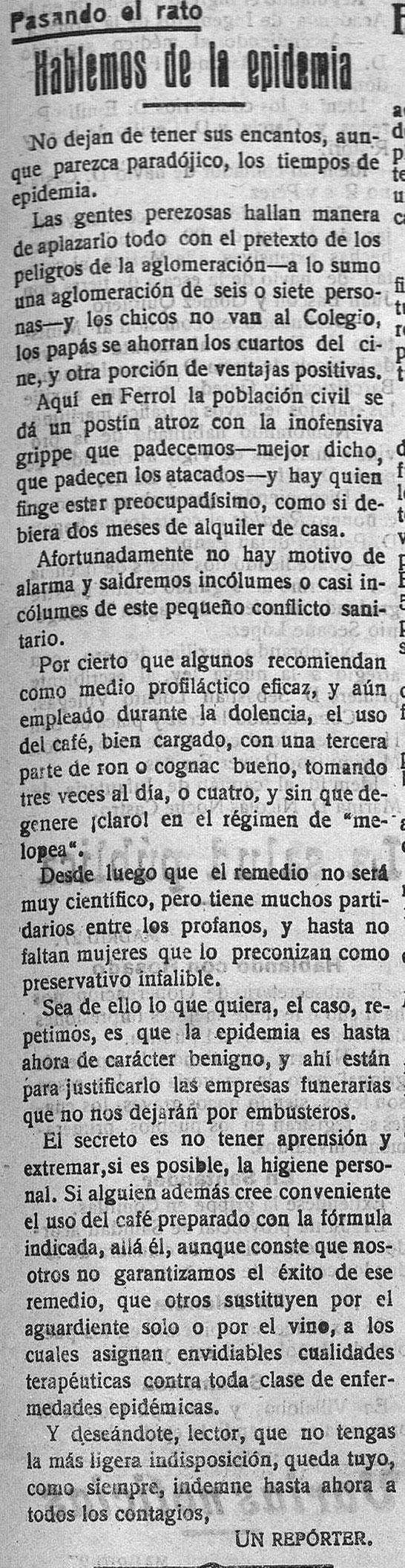 """Recorte de """"El Correo Gallego"""" do sábado, 28 de setembro de 1918."""