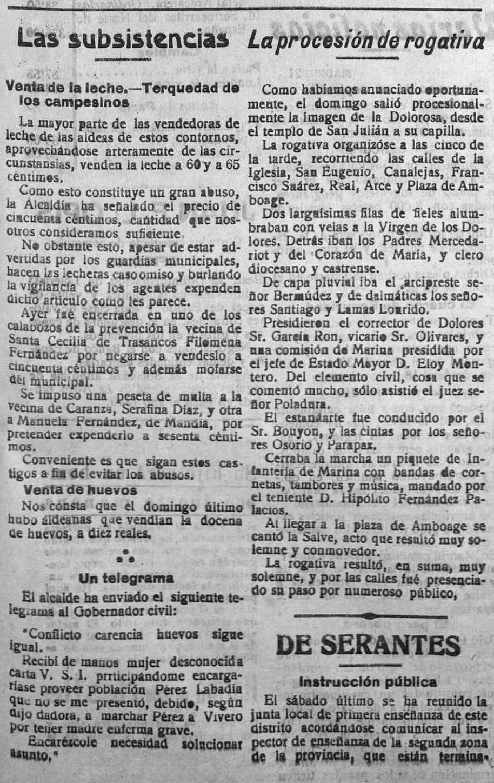 "Recorte de ""El Correo Gallego"" do martes, 22 de outubro de 1918."