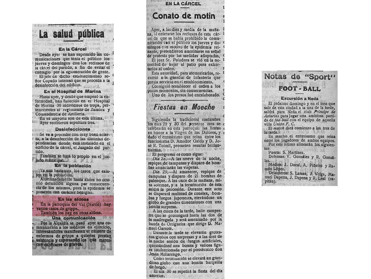 "Distintos recortes da portada de ""El correo Gallego"" do venres, 27 de setembro de 1918."